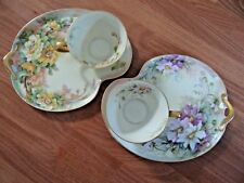 2- Beautiful Hand Painted Luncheon Plates & Cups  Artist Signed: M.F. Kelley