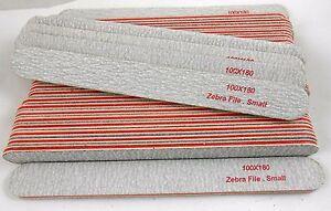 50 x Professional ZEBRA Nail File Korean origin Red Cushion 100/180 grit