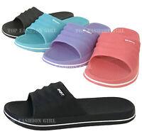 NEW Womens Slide Sandal Black Pink Blue Purple Slip On Flip Flop Shoe Size 5-11