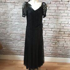 Vintage 20's Dress Black Long Belted Short Sleeve solid Black Underdress 4 Sm