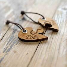 Schlüsselanhänger mit Gravur aus Holz Eiche Doppelherz Puzzle individuell