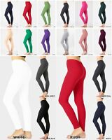 Women Cotton Spandex FULL Length Yoga Leggings Slim Pants tight MADE IN USA S-3X