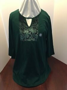 Catherines Emerald Green Pullover Tunic Top Velveteen Accent NWTA NEW $29.50  0X