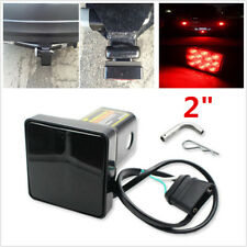 "2"" Trailer Hitch Receiver Cover Smoke 12 LED Brake Leds Light Tube Cover w/ Pin"