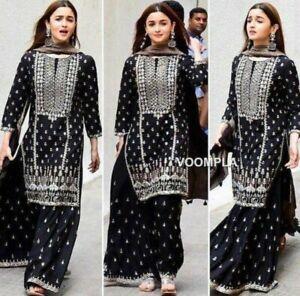 Women Indian Ethnic Sharara Kurta Dupatta Black Designer Kurta Palazo Diwali Set
