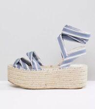 Boohoo Striped Wrap Ankle Flatform Espadrille Uk7