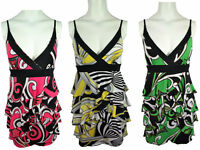 New Ladies Mini Sundress Womens Strap Printed Shirred Summer Dress V Neck 8-14