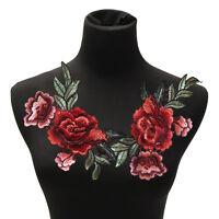 2Pcs / Set Rosen-Blumen-FlecBlumen bestickte Applique-Aufnäher nähen auf YR