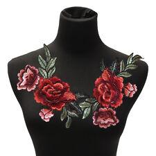 2 Unids / set parche de flores de Rose apliques bordados florales cosen en DIYH4