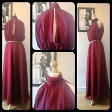 Studio 54 style 1970s burgundy red evening maxi dress S Uk 8 10