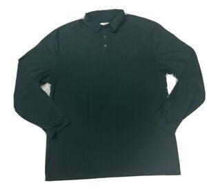 GRAND SLAM Men's Large 360 Motion Long Sleeve Polo GOLF Shirt Dark Green