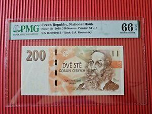 CZECH REPUBLIC, NATIONAL BANK PMG 66 GEM UNC EPQ PICK# 19R 2018 200 KORUN