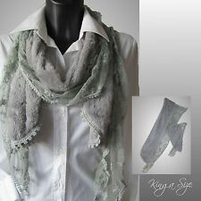 98b64be7f984a8 Winter Schal Strickschal Winterschal Scarf Loop Kunstfell & Spitze -  hellgrau