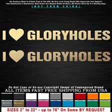 Gay I Heart Love Gloryholes Funny 2 Stickers