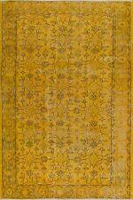 4x7 Ft (118x212 cm) Yellow Color OVERDYED Handmade Vintage Turkish Rug c70