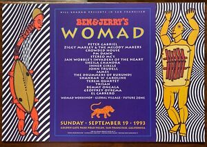 Ben & Jerry's WOMAD Poster PETER GABRIEL ZIGGY MARLEY Crowded House 1993 SF