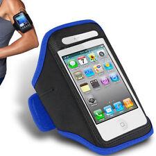Bleu iPhone 4 4S Sports forte brassard rembourré couverture souple avec poche pour écouteurs