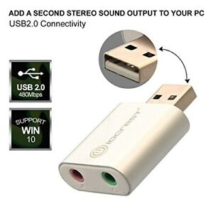 External USB Audio Adapter Headphone Microphone Jacks Windows and Mac Support