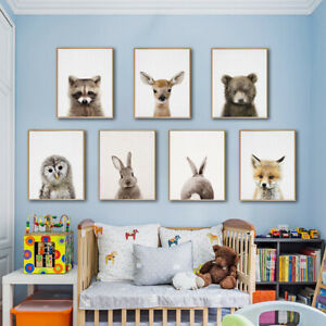 Lovely Animals Pictures Prints Art Poster Kids Room Wall Decor Fox Deer Rabbit