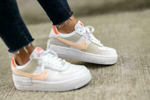 Nike Air Force 1 Shadow Trainers White / Crimson Tint Bright Mango All Sizes