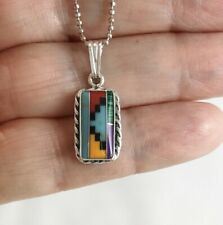Small Zuni Inlay Inlaid 925 Sterling Silver Pendant with Ball Chain Necklace