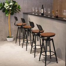 Vintage Bar Stool Metal Wooden Industrial Retro Seat Kitchen Pub Counter UK