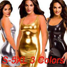 Sexy Women Faux Leather Tight Short Dress Club wear Silver/Gold/Black S-5Xl