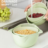 KE_ Plastic Rotating Double-layer Drain Basket Strainer Fruit Vegetable Holder