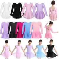 Girls Kids Ballet Dance Dress Long Sleeve Gymnastics Leotard Tutu Skirt Costume