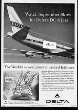DELTA AIR LINES DC-8 WATCH SEPTEMBER SKIES WORLD'S NEWEST JET 1959 ROUTES AD
