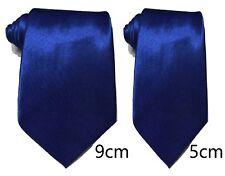 Royal Blue Plain Satin Tie Skinny Classic Wedding Business Prom UK