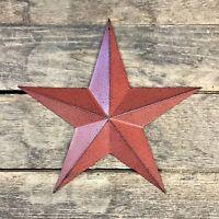 "Tin Metal Americana 12"" Burgundy Country Barn Star"