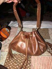 Cole Haan Brown Leather/Fringe Drawstring Purse/Shoulder Bag Handbag (D)