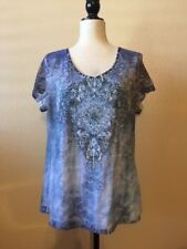 BLEU S/S Lace Sleeve Womens Blue Lined Lace Front Embellished Top Size XL EUC
