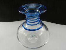 "Blenko Art Glass Vase Clear Crystal with Blue Threading 6 1/2"" T"