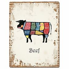 PP0872 BEEF Meat cuts Parking Plate Chic Sign Home Restaurant Kitchen Decor