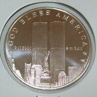 911 10th Anniversary Silver art Bullion  2011-1 Oz .999 fine Coins 9-11-2001