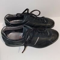 Ecco Womens Lace Up Black Sneakers Casual Shoes Leather Size 37 6-6.5