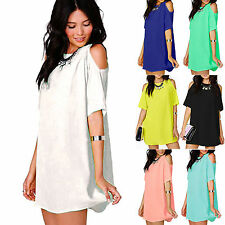 Women Cut Out Off Shoulder Dress Short Sleeve Chiffon Baggy T Shirts Blouse Tops