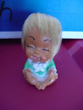 "Vintage 1960s Plastic Vinyl Big Head Eyes Closed Character Girl Doll 3 1/2"" Tall"
