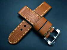 Grained Italian Brown Cow Leather 24mm Panerai Watch Strap Band for 44mm Marina