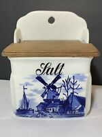 Vintage Germany Salt Box Windmill sailboat Wooden Lid Wall hanging decor