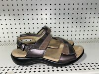 SAS Nudu Womens Leather Slingback Double Strap Buckle Sandals Size 6 WIDE Brown