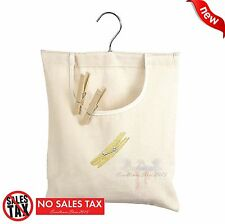 Clothes Pin Bag Canvas Laundry Sturdy Cotton Clothespin Holder Storage Organizer