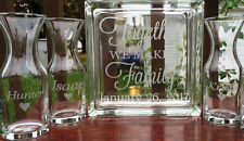 4 Piece Glass Block Sand Ceremony Set Together We Make A Family Etched Glass