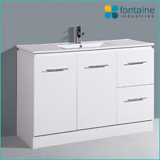 Bathroom Vanity White High Gloss Ceramic Basin Floor Freestanding 1200 NEW