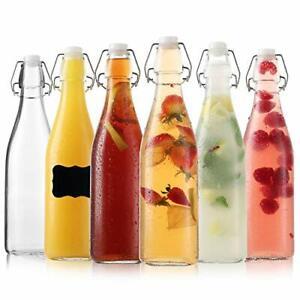 Flip Top Glass Bottles - Kombucha Bottles with Swing Top Lids – Clear Beer Br...