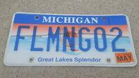 2007 Michigan VANITY State License Plate FLAMINGO 2 embossed metal OFFICIAL REAL