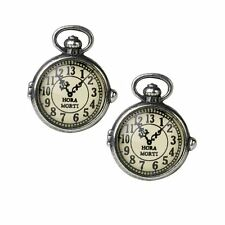 Alchemy Gothic Victorian Steampunk Clock Uncle Albert's Pewter Cufflinks Pair