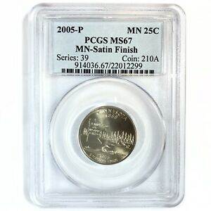 2005 United States Satin Finish MINNESOTA Statehood Quarter - PCGS MS67